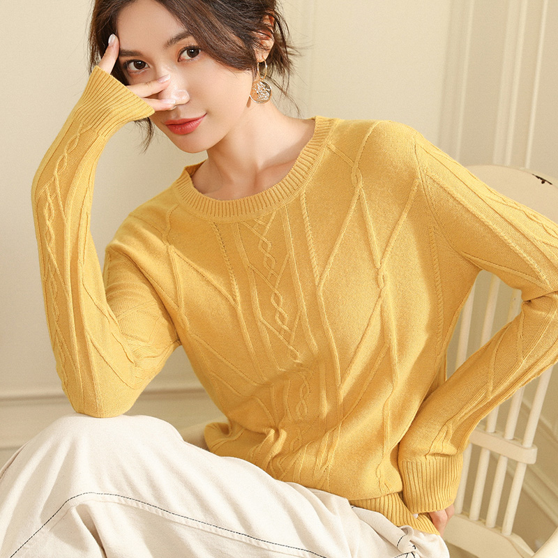 Round Neck Pullover Loose Long-sleeved Warm Cashmere Sweater Women's Sweater 2019 Autumn And Winter New