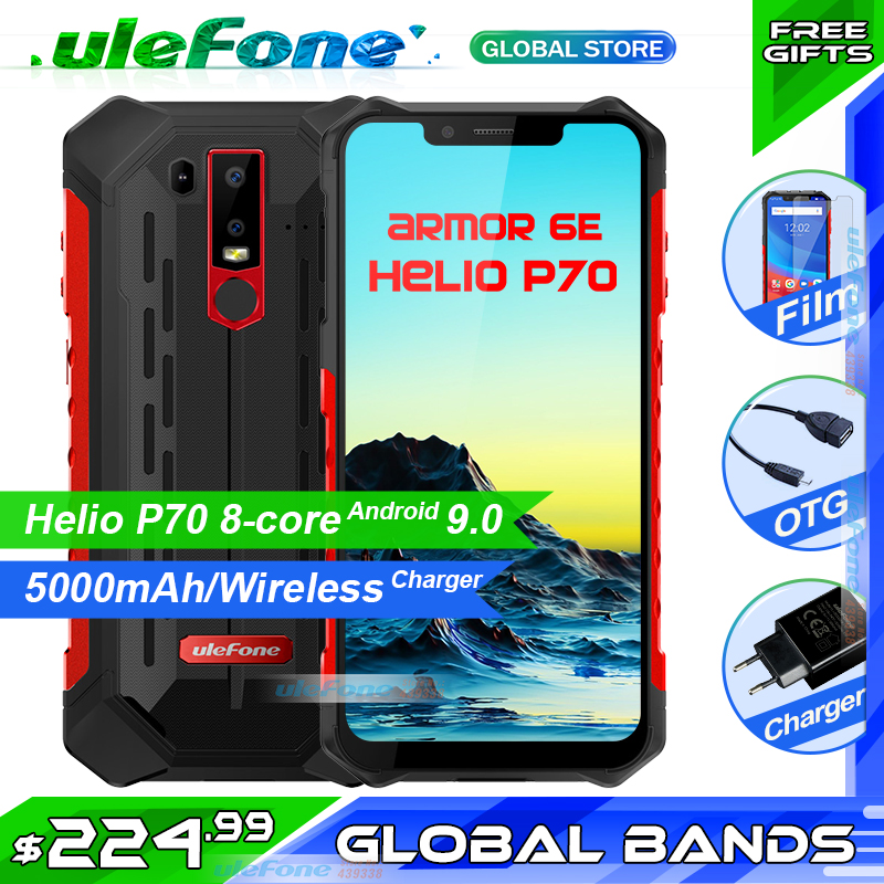 "Ulefone Armor 6E IP68 Waterproof Mobile Phone Helio P70 4GB+64GB 6.2"" Wireless Charger 5000mAh Android 9.0 Smartphone NFC"