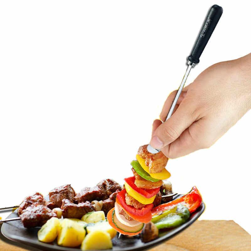 6 pçs de madeira espetos para churrasco com removedor de alimentos anel portátil aço inoxidável ampla bbq kabob varas fabricante de rotisserie kebab brasileiro