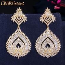 CWWZircons יוקרה 585 זהב צבע אפריקאי ניגרית מעוקב Zirconia גדול ארוך Naija חתונה מסיבת נשים שמלת עגילי CZ636