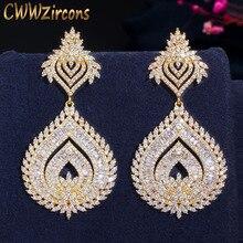 CWWZircons Luxe 585 Gouden Kleur Afrikaanse Nigeriaanse Zirconia Grote Lange Naija Wedding Party Vrouwen Jurk Oorbellen CZ636