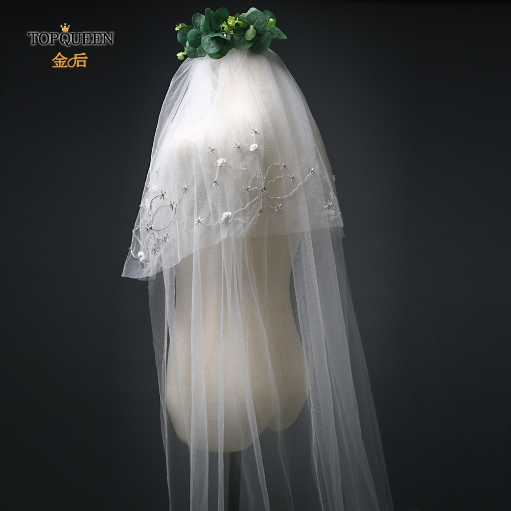 TOPQUEEN VS14 Elegant Wedding Veils Bride Two Layer Veil Bridal Wedding Veil Accessories Beaded Veil Luxury Wedding Veil