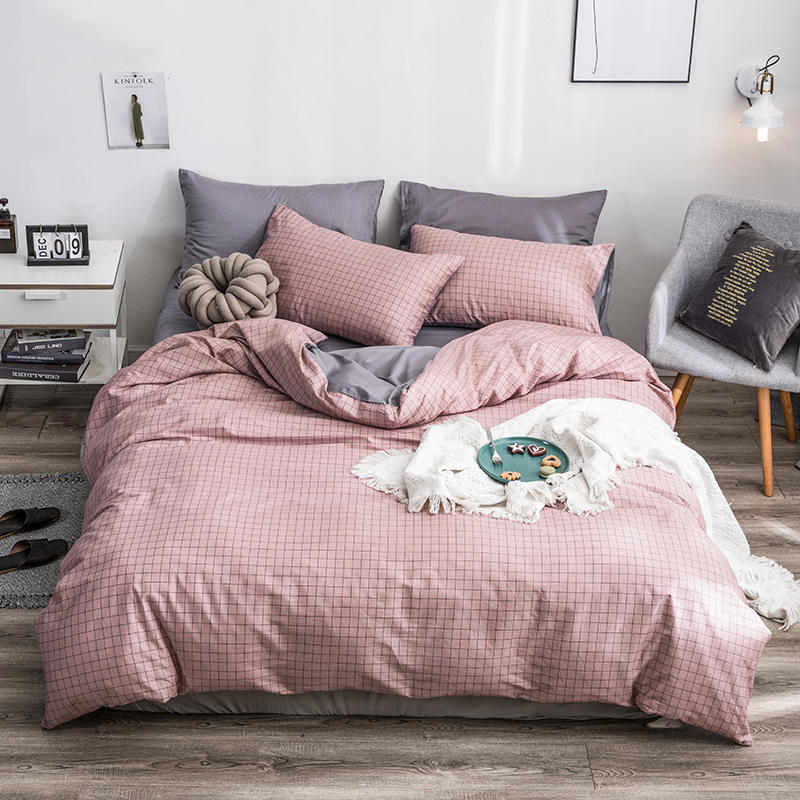 Home Textile Pink Plaid Duvet Cover Set Pillowcase Bed Sheet Simple Pure Cotton Bedding Sets 3/4Pcs Single Double Bedlinen