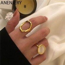ANENJERY – bague rétro en argent Sterling 925 pour hommes et femmes, bijou de fête, en forme de coquille ronde ovale irrégulière, cadeau idéal
