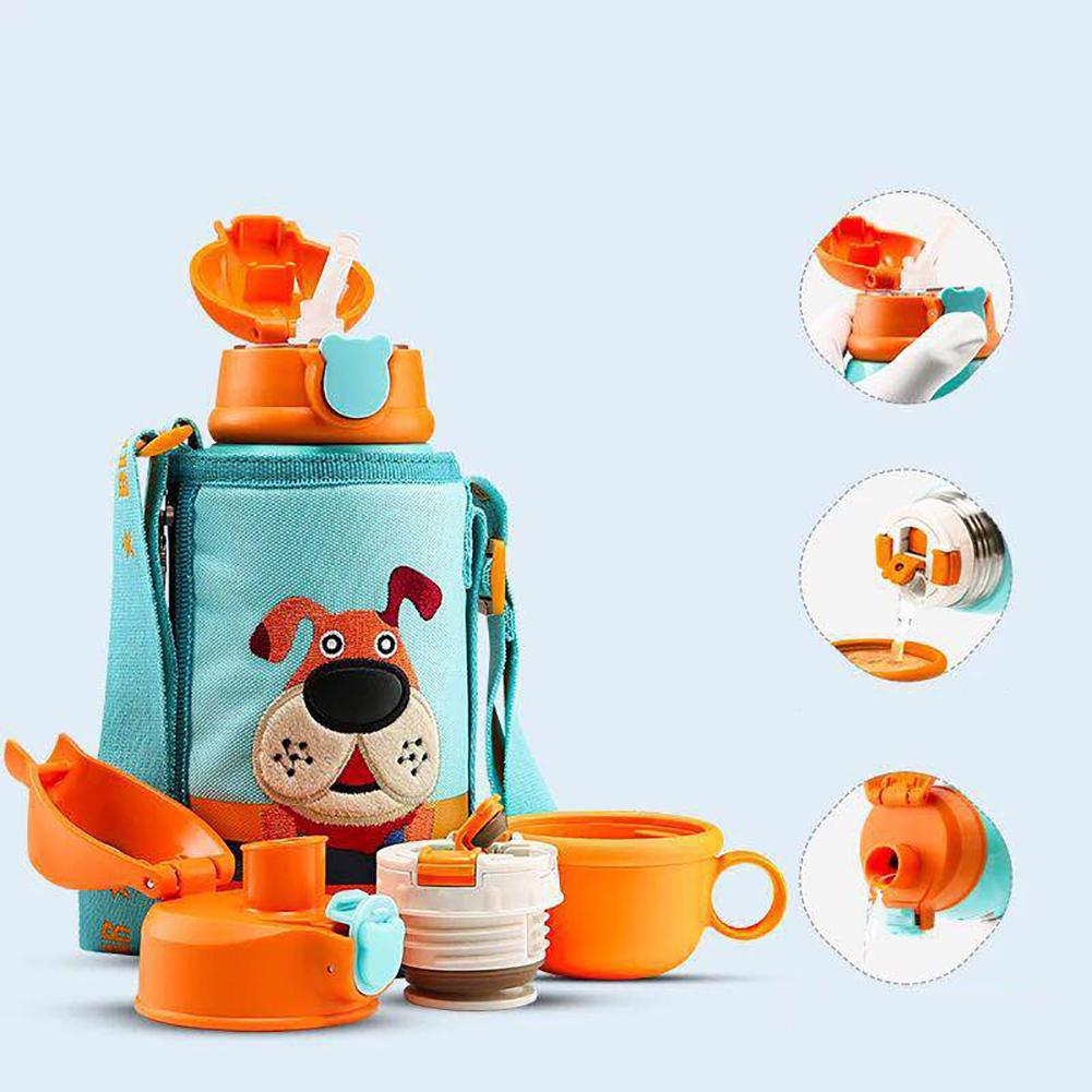 <font><b>Baby</b></font> Cartoon Puppy Stainless Steel Milk Thermos Feeding Cup For Children Insulated Hot Water Bottle Leak-<font><b>poof</b></font> Thermal Cup image