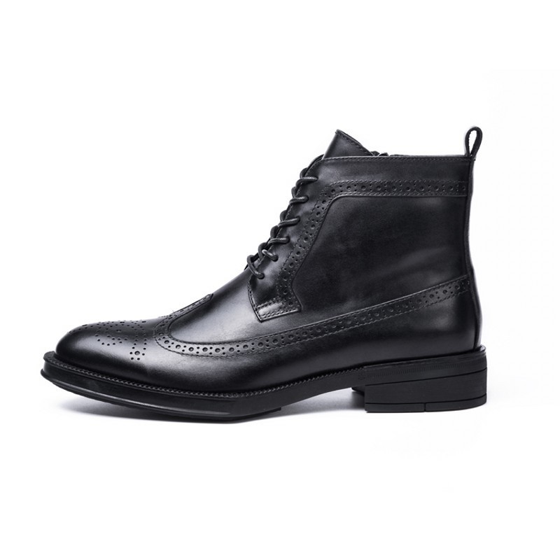 Winter Brogue Wing Tip Work Safety Shoes Office Man Genuine Leather Formal Ankle Boots Med Heels High Top Business Party Shoes