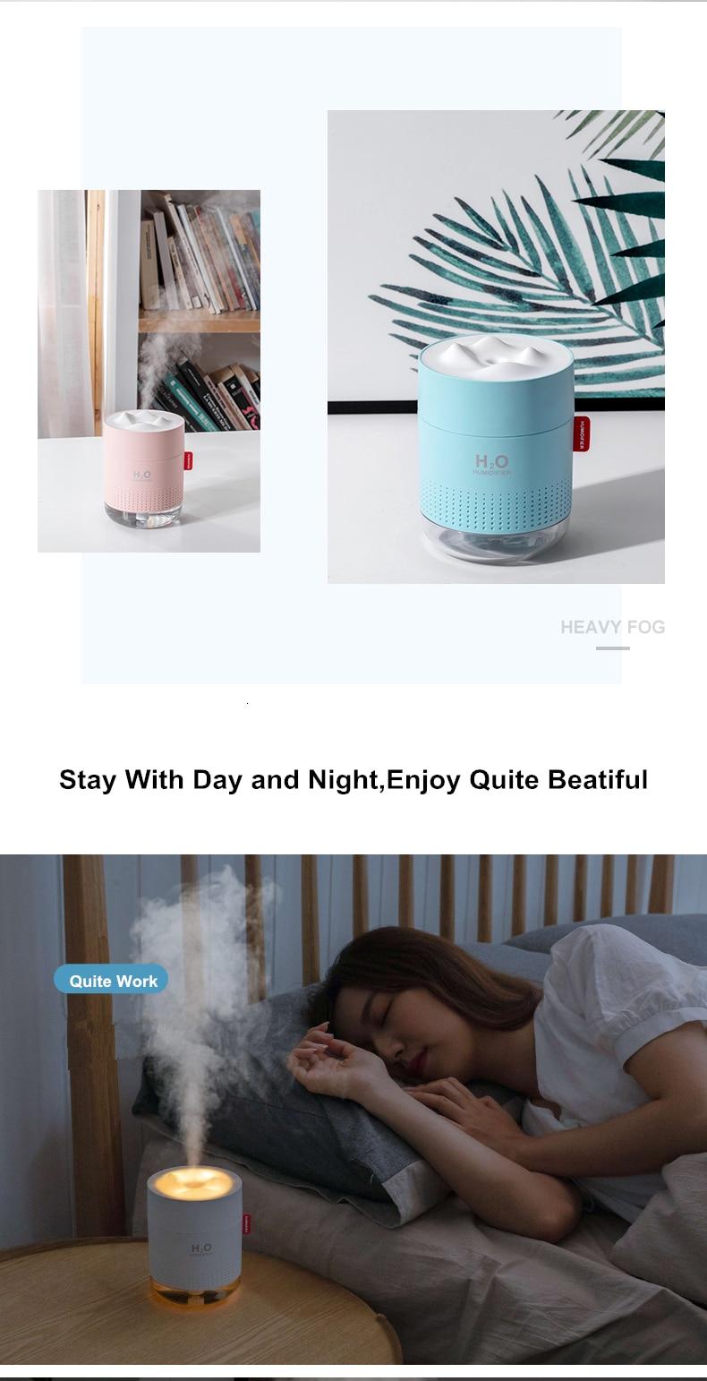 H6dff789ad6c6480488cb802e2cd1046d9 - Portable Ultrasonic Humidifier 500ML Snow Mountain H2O USB Aroma Air Diffuser With Romantic Night Lamp Humidificador Difusor