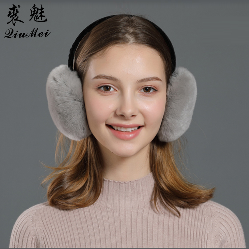 Warm Fur Winter Ear Covers Genuine Fur For Women Ladies Gifts Cute Portable New Girls Cute Natural Real Rabbit Rex Fur Earmuffs