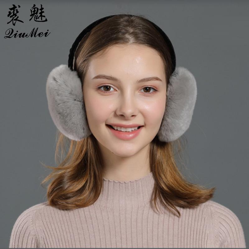 Warm Fur Winter Ear Covers Genuine Fur For Women Ladies Gifts Cute Portable New Girls Cute Natural Real Rabbit Rex Fur Earmuffs