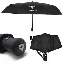 مظلة قابلة للطي ومحمولة للرجال ، سيارة أوتوماتيكية بالكامل ، حماية من الشمس ، مقاومة للرياح ، الأشعة فوق البنفسجية ، مظلة تسلا موديل S X موديل 3