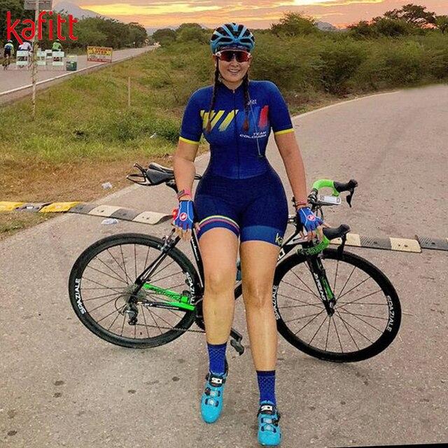 Kafit verão novo de manga curta triathlon esportes ciclismo macacão roupa ciclismo feminino macacão ir shorts terno 2