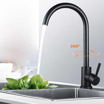 Black Hot and Cold  Kitchen Faucet 360 Rotate Mixer Faucet for Kitchen Rubber Design Deck Mounted Crane for Sinks