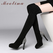 Meotina Winter Over The Knee Boots Women Slim Stretch Platform Block Heels Thigh High Boots Sexy Super High Heel Shoes Lady Fall недорого