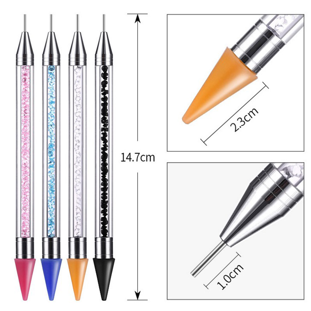 1Pc Nail Art Tool Dual ended Nail Rhinestone Dotting Pen Tool Studs Picker Wax Pencil Crystal Beads Handle Decoration Crystal in Nail Art Equipment from Beauty Health