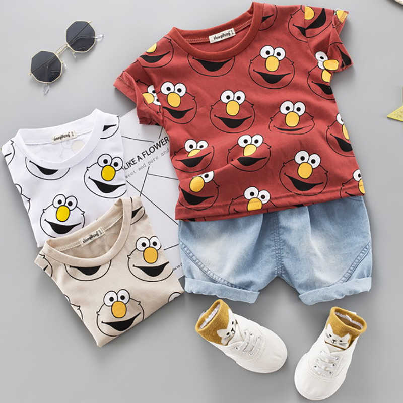 Baby Boys Clothing Sets Cute Summer T-Shirt Cartoon Children Boys Clothes Suit for Kids Outfit Denim Outfit Infant Boy Clothes