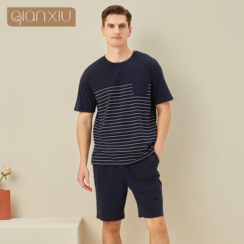 Men's short sleeve striped home suit men's knitted cotton pyjamas set men's pyjamas 2101