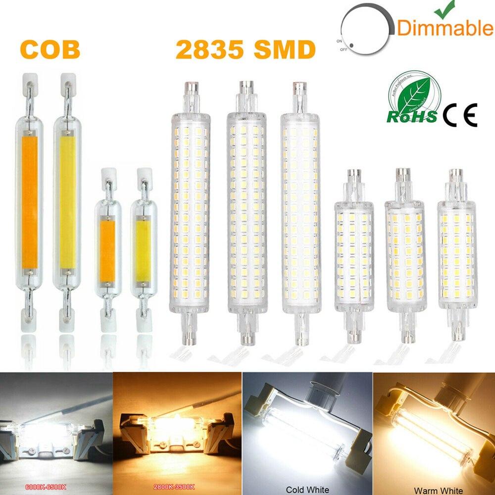 Dimmable R7s LED J78 J118 7W 12W 15W 20W COB SMD 2835 Corn Bulbs Ceramic Glass Tube Light Ampoule Replacement  Halogen Bombillas