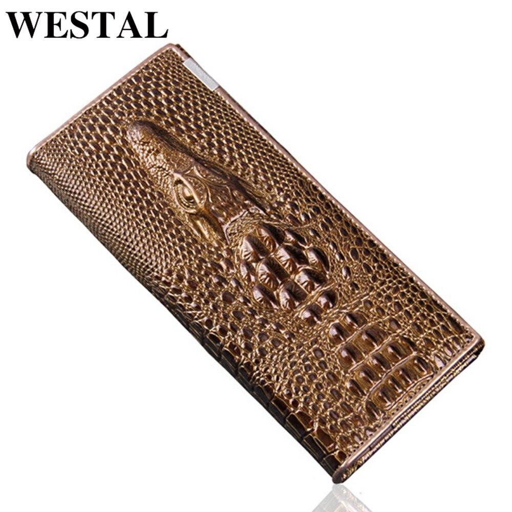 WESTAL Women Wallet Crocodile Pattern Vintage Clutch Women Wallet Long Purse For Lady Credit Card Holder Phone Leather Wallet