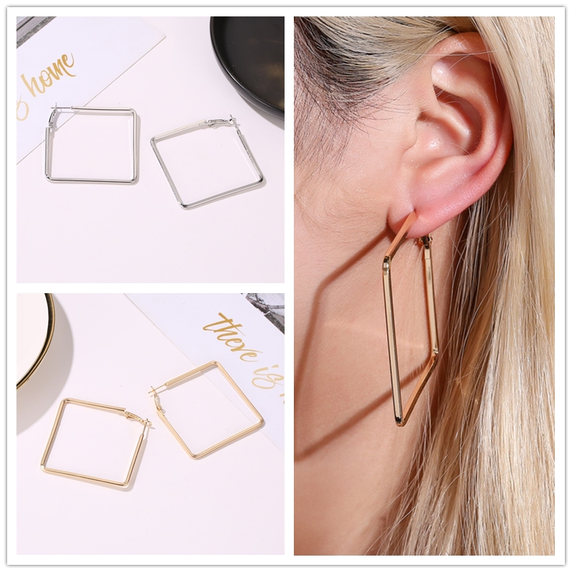 Big Square Statement Hoop Earrings