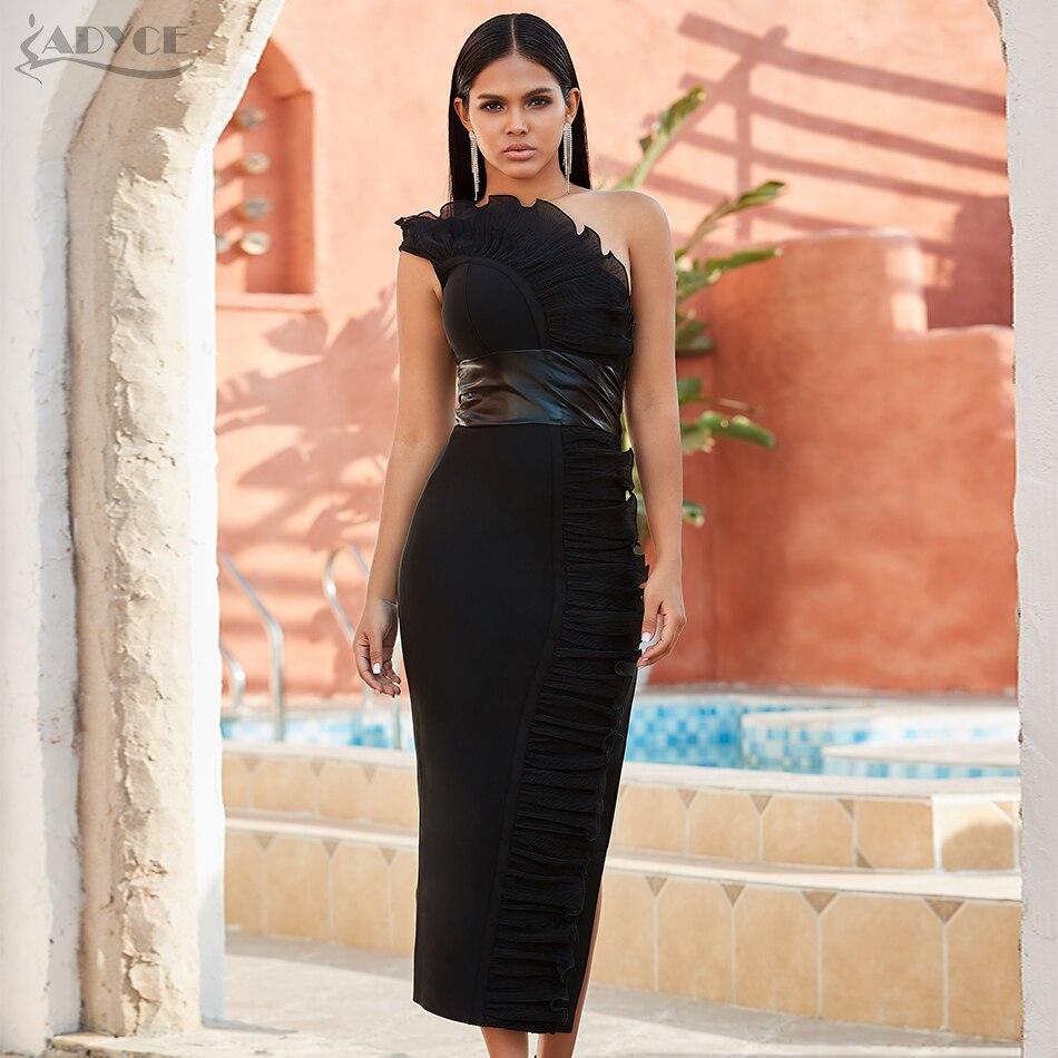 Adyce 2020 New Summer One Shoulder Women Bandage Dress Sexy Sleeveless Black Mesh Bodycon Club Celebrity Evening Party Dresses