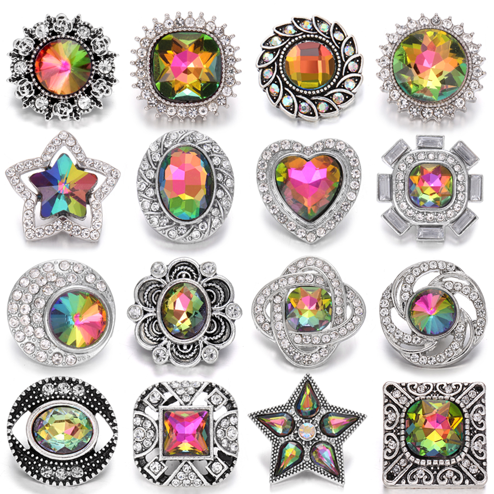 6 pçs/lote novo botão snap jóias pulseira charme metal cristal strass flor 18mm botões snap caber diy snap pulseira