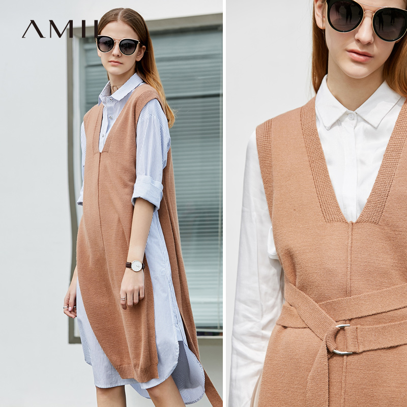 Amii Minimalism Causal Knit Sweater Vest Women Spring Vnck Solid Belt Sweater 11783458