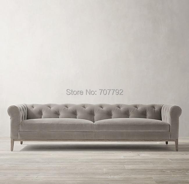Chesterfield Sofa Funiture Velvet Living-Room Vintage Contemporary-Design For-Sale Fog