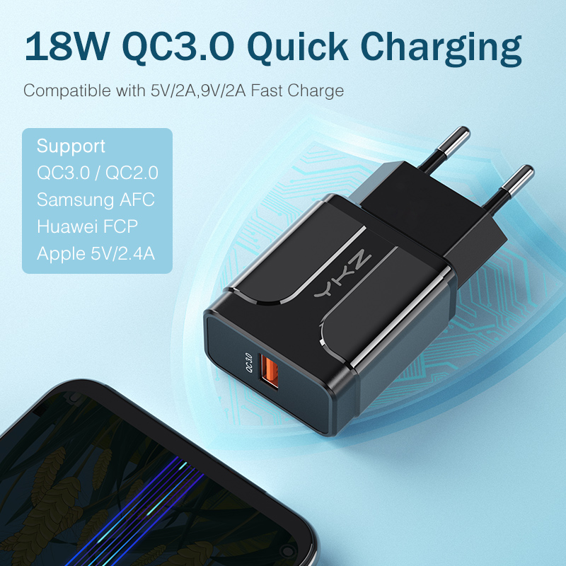 Image 4 - YKZ Quick Charge 3.0 18W QC 3.0 4.0 Fast charger USB portable Charging Mobile Phone Charger For iPhone Samsung Xiaomi Huawei-in Mobile Phone Chargers from Cellphones & Telecommunications