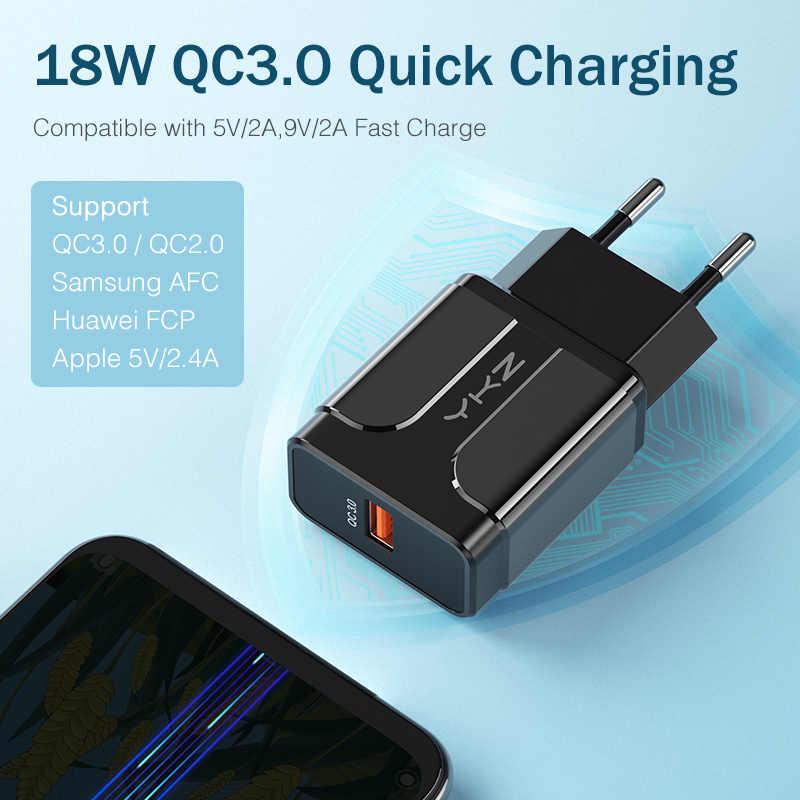 Ykz Sạc Nhanh 3.0 18W QC 3.0 4.0 Sạc Nhanh USB Di Động Sạc Di Động Sạc Điện Thoại Cho iPhone Samsung xiaomi Huawei