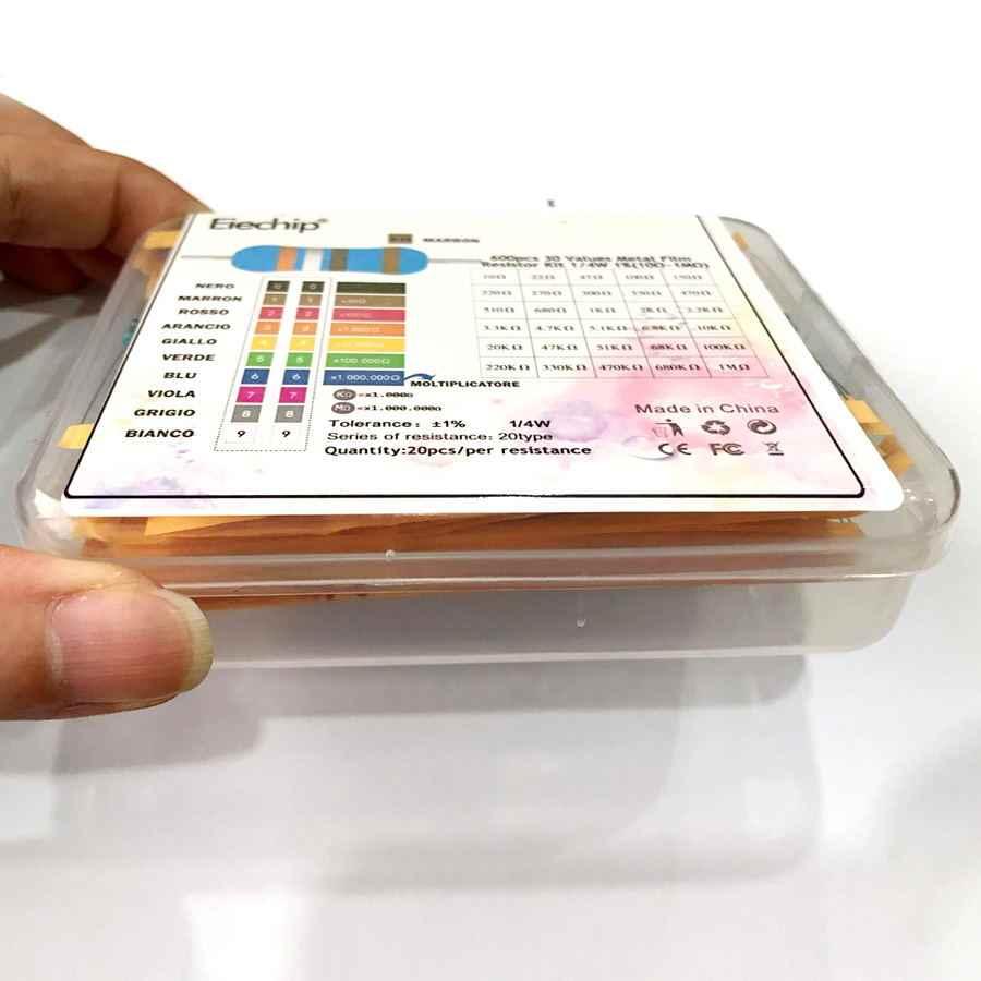 Juego de resistencias de película metálica diy de 600 Uds./lote de 30 valores * 20 Uds. 1% 1/4 W, resistencia de anillo de color (10 Ohmios ~ 1 M ohm)