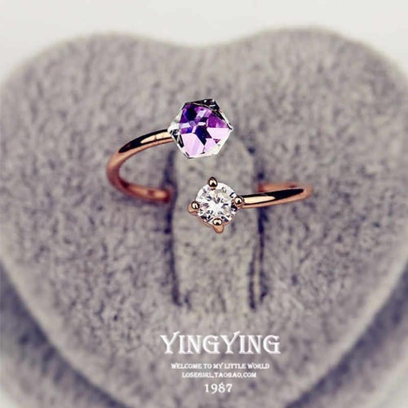 חדש אופנה מתנה צבע זהב עלה זהב צבע טבעת פתוח צורת עיצוב צבע נשי נשי חתונה טבעת גודל מתכוונן טבעת