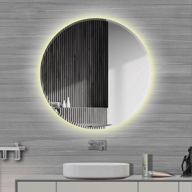 60cm 70cm LED Beveled Edge Warm White Anti fog Wall Mounted Round Bathroom Mirror With Adjustable Touch Switch Light Bath Mirrors    - AliExpress
