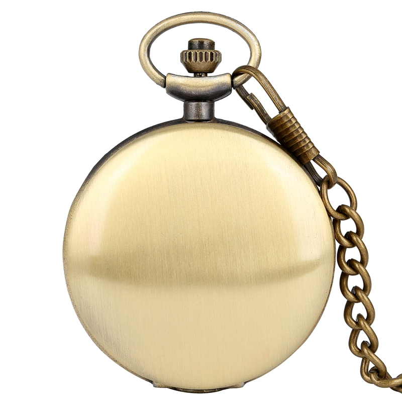 Retro Bronze/Black/Silver/Gold/Rose Gose Smooth Steampunk Quartz Pocket Watch Unique FOB Chain Simple Pendant Clock Luxury Reloj