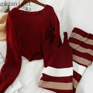 Gaganight Fashion Knitted Women Two Pieces Set Solid Short Sweater Long Striped Dress Office Lady Korean Outfits Spring Autumn