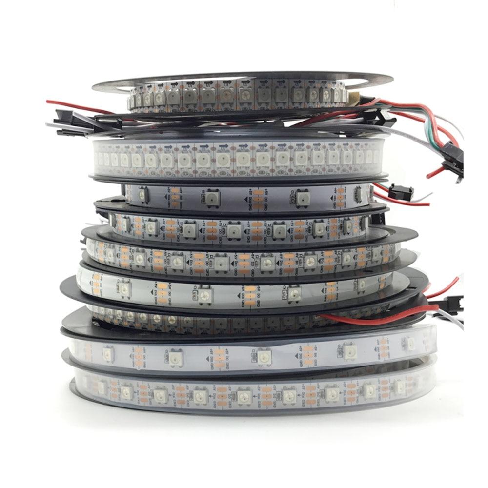 WS2812B Smart Pixel RGB Led Strip Light 4m 5m WS2812 IC 30/60/144 Pixels/Leds/m IP30/IP65/IP67 DC5V Led Lamp Tape For Home Decor