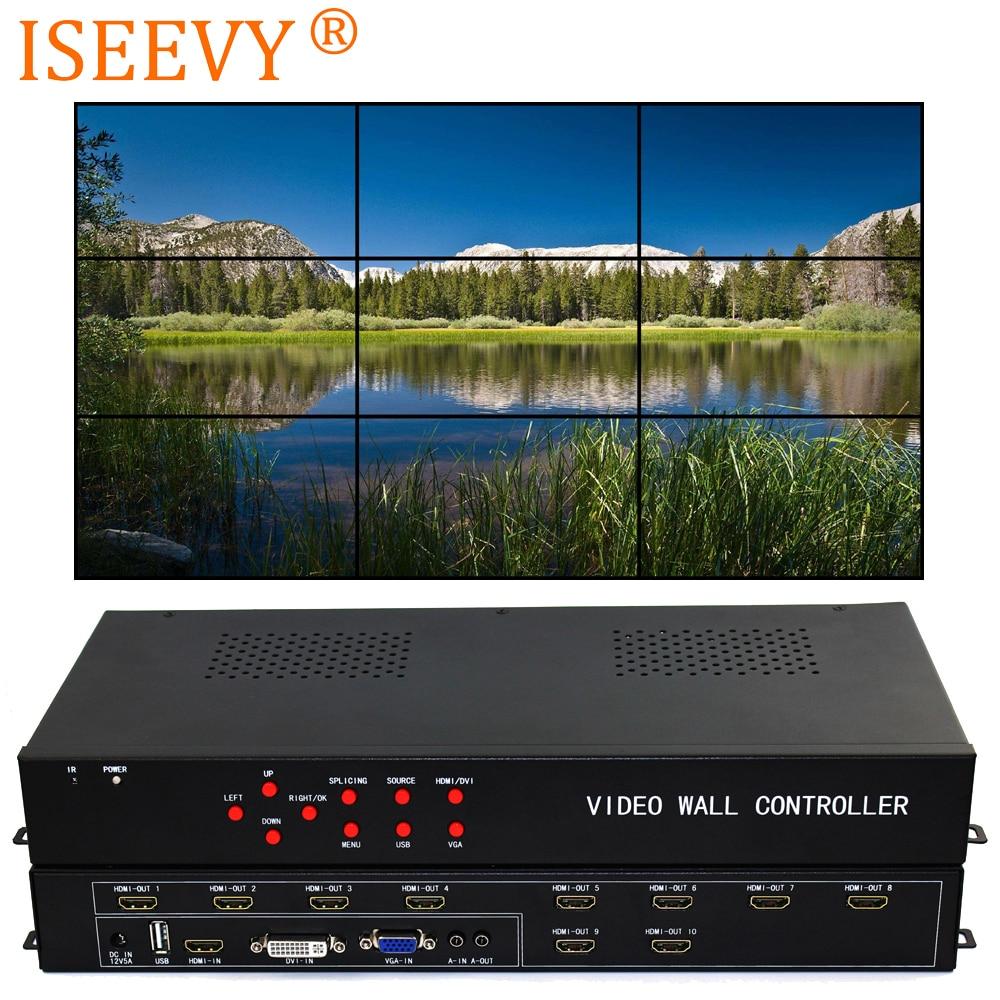 ISEEVY Controller Video Wall 3x3 2x5 2x4 HDMI DVI VGA USB Video Processore per 9 TV Splicing Display