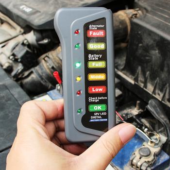 Narzędzie diagnostyczne do samochodów dla akumulatorów samochodowych Tester do fiat 500 500x fiat grande punto ducato punto fiat panda tanie i dobre opinie VCiiC 55 g Check Battery Alternator state 5 2 CM China 1 8 CM 12 CM plastic 0-12V 12V 15A 6 LED (2 red 3 green and 1 yellow)