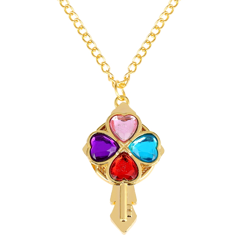 Crystal Heart Diamond Key Shaped Quartz Pocket Watch Top Luxury Magic Wand Necklace Pendant Clock Best Gift For Women Girls Kids