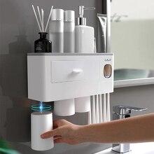 Dispensador de pasta dental automático, exprimidor de pasta dental, soporte de pared para almacenamiento, soporte para cepillo de dientes con taza Set de accesorios de baño