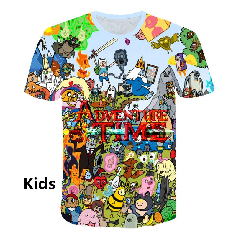 New Funny Cartoon Adventure Time T-Shirts Cool Print 3d Kid T Shirts Womens Mens T Shirts Summer Casual Unisex Tees Tops