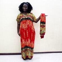 Dashikiage 100% Cotton African Dashiki Print O Neck Short Sleeve Plus Size Mama Dress With Scarf