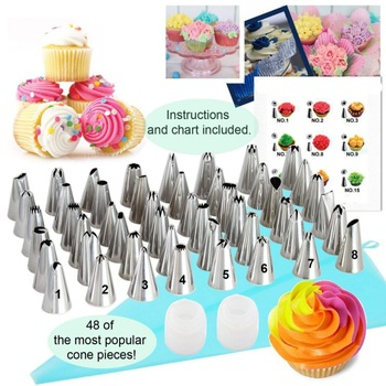 90Pcs/set Professional Cake Decorating Tools Cream Tips Portable Piping Nozzles Bags Kitchen Accessories Set Stainless Steel