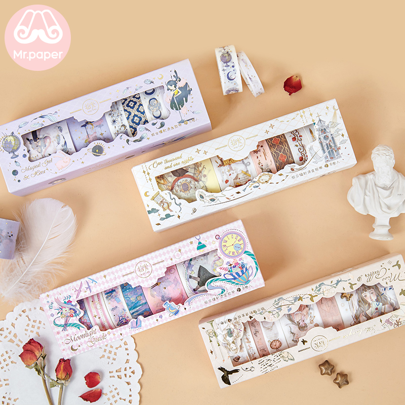 Mr Paper 8pcs/lot Window Box Gold Stamping Girlish Fairy Tale Cartoon Washi Tapes Set Bullet Journal Scrapbooking Masking Tapes