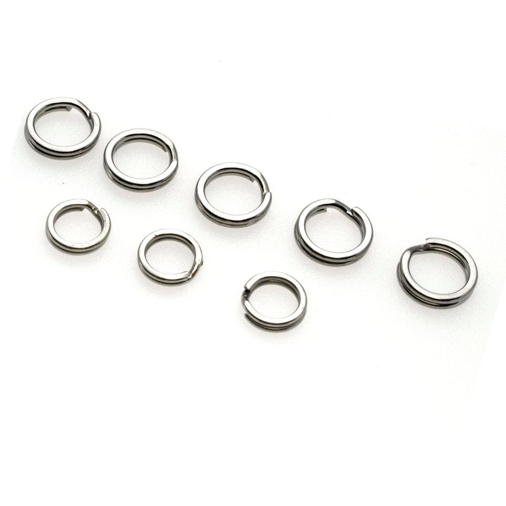 200pcs Squashed Stainless Steel Round Dual Split Ring Loop Fishing Connector