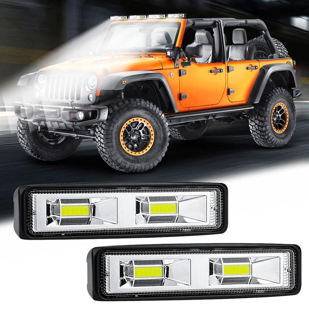 1 Pair Car SUV 2-LED Work Driving Fog Light 12V 24V Daytime Running Spotlight Off-Road 4000LM White LED Work Lights
