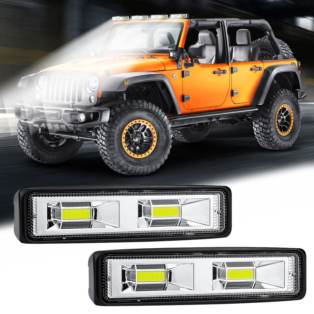 1 Pair Car SUV LED Bar Work Driving Fog Light 12V 24V Daytime Running Spotlight Off-Road 4000LM White LED Work Lights