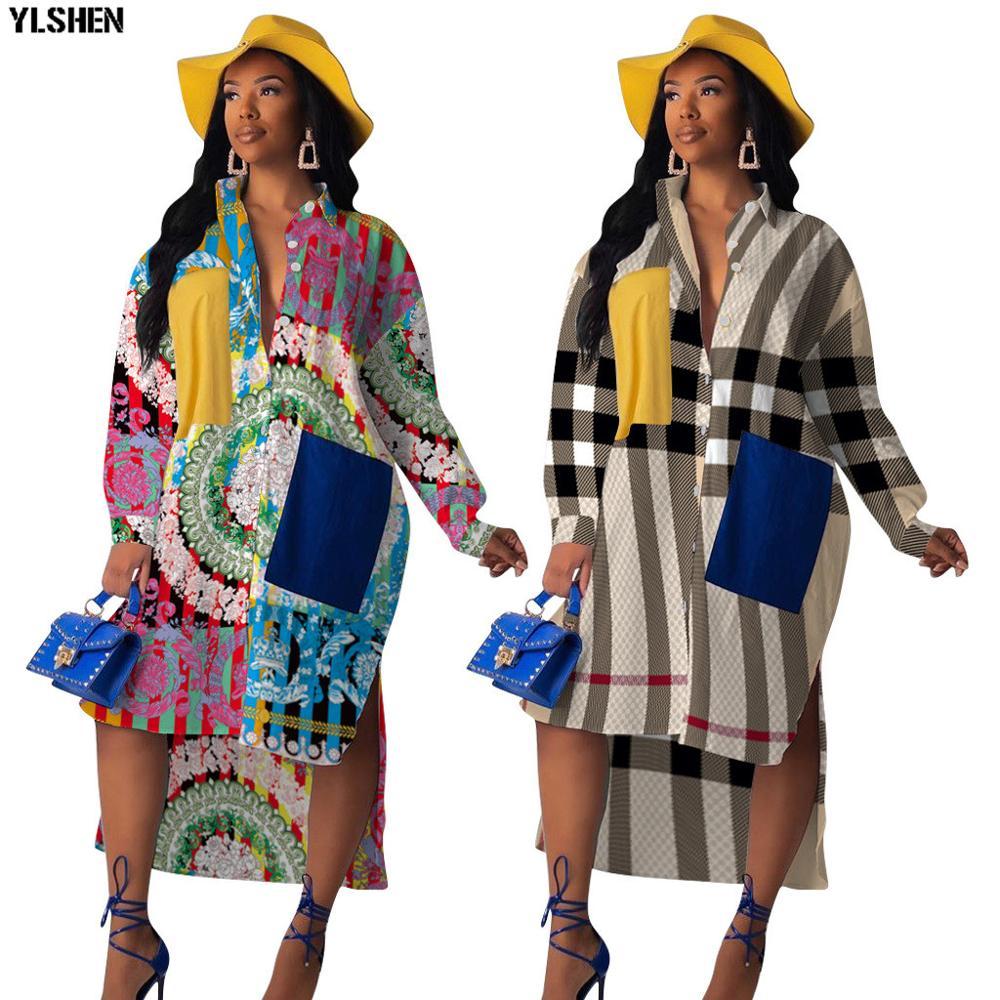 Drucken Afrikanische Kleider für Frauen Vetement Femme 2019 Langarm Kleid Afrikanische Kleidung Mode Dashiki Afrika Hemd Kleid Damen