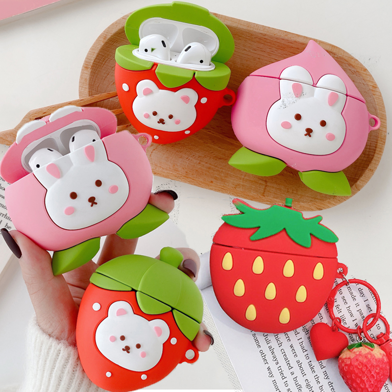 For Airpods Pro 3D Cute Cartoon Rabbit Strawberry Peach Earpods Case For Apple Airpods 1 2 3 Wireless Earphone Protective Cover