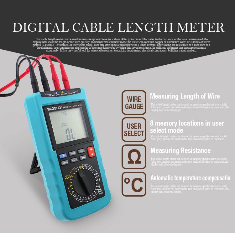 ALL SUN EM5812 Modern Digital Cable Length Meter 4 1/2 Digit Display Automatic Temperature Compensation 20 Pre-Set Wire Gauge