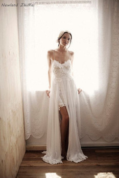 Romantic Beach Wedding Dress Sexy Spaghetti Straps Low Back Lace Wedding Dresses Hot Online Shop China